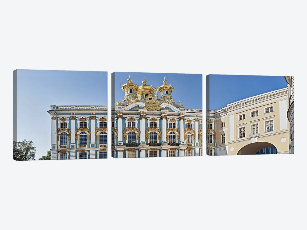 Facade of Catherine Palace, Tsarskoye Selo, St. Petersburg, Russia by Panoramic Images 3-piece Canvas Artwork