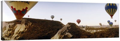 Hot air balloons over landscape at sunrise, Cappadocia, Central Anatolia Region, Turkey #2 Canvas Art Print