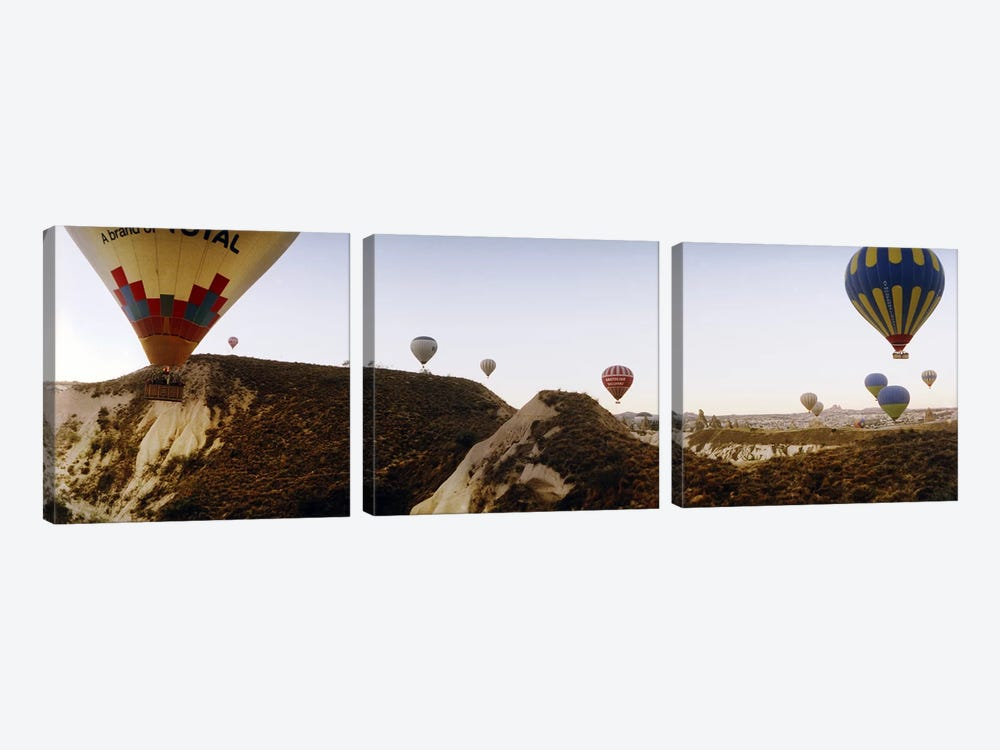 Hot air balloons over landscape at sunrise, Cappadocia, Central Anatolia Region, Turkey #2 by Panoramic Images 3-piece Canvas Wall Art