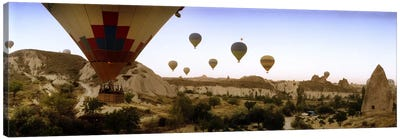 Hot air balloons over landscape at sunrise, Cappadocia, Central Anatolia Region, Turkey #3 Canvas Art Print
