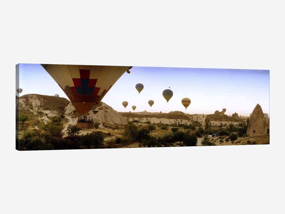 Hot air balloons over landscape at sunrise, Cappadocia, Central Anatolia Region, Turkey #3 by Panoramic Images 1-piece Art Print