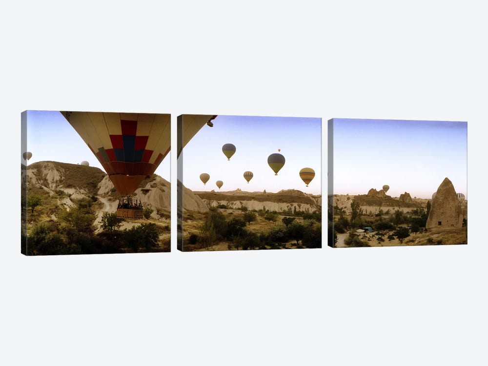 Hot air balloons over landscape at sunrise, Cappadocia, Central Anatolia Region, Turkey #3 by Panoramic Images 3-piece Canvas Print