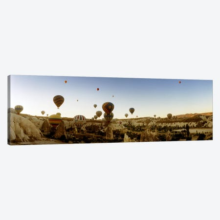 Hot air balloons over landscape at sunrise, Cappadocia, Central Anatolia Region, Turkey #4 Canvas Print #PIM10898} by Panoramic Images Canvas Print