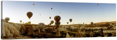 Hot air balloons over landscape at sunrise, Cappadocia, Central Anatolia Region, Turkey #4 Canvas Art Print