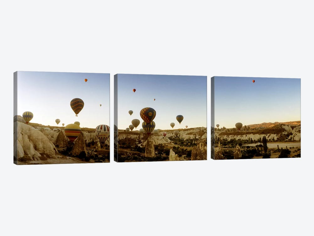 Hot air balloons over landscape at sunrise, Cappadocia, Central Anatolia Region, Turkey #4 by Panoramic Images 3-piece Canvas Wall Art