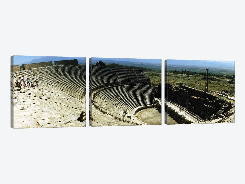 Ancient theatre in the ruins of Hierapolis, Pamukkale, Denizli Province, Turkey by Panoramic Images 3-piece Canvas Art Print