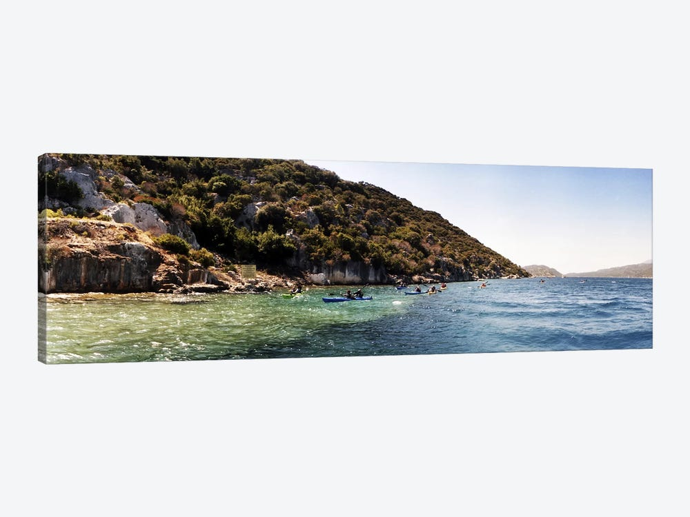 People kayaking in the Mediterranean sea, Sunken City, Kekova, Antalya Province, Turkey by Panoramic Images 1-piece Canvas Art Print