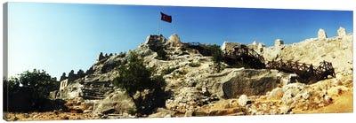 Byzantine castle of Kalekoy with a Turkish national flag, Antalya Province, Turkey Canvas Print #PIM10918
