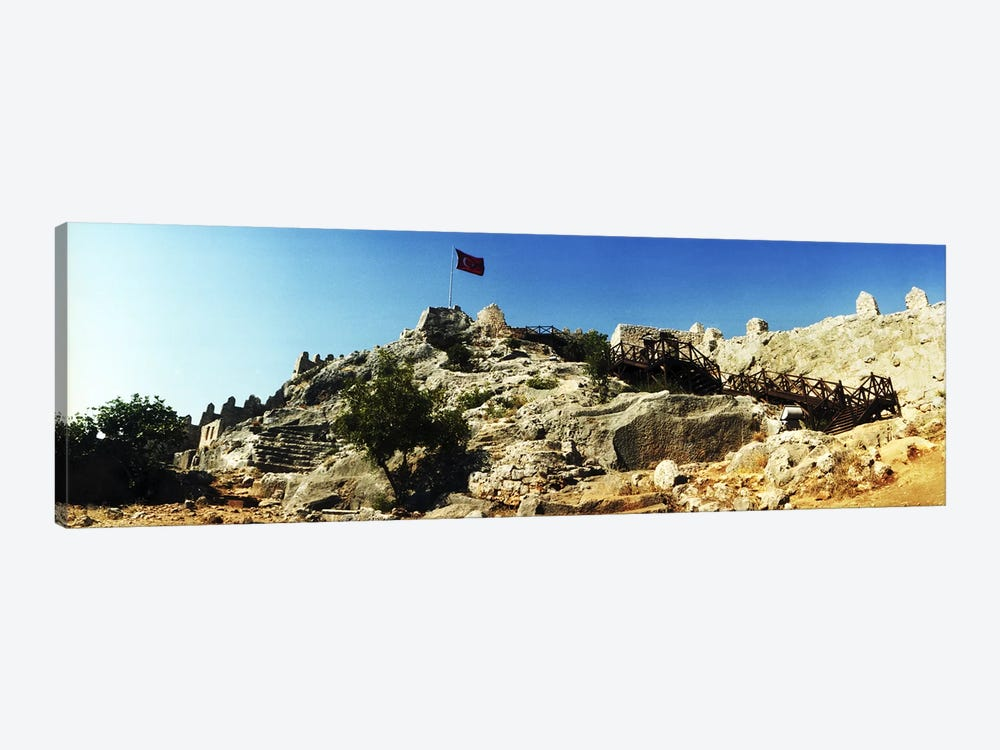 Byzantine castle of Kalekoy with a Turkish national flag, Antalya Province, Turkey by Panoramic Images 1-piece Canvas Print