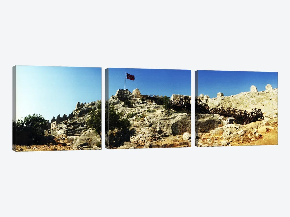 Byzantine castle of Kalekoy with a Turkish national flag, Antalya Province, Turkey by Panoramic Images 3-piece Canvas Art Print