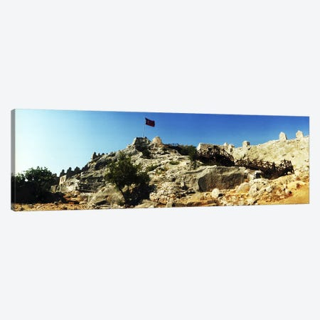 Byzantine castle of Kalekoy with a Turkish national flag, Antalya Province, Turkey Canvas Print #PIM10918} by Panoramic Images Canvas Artwork