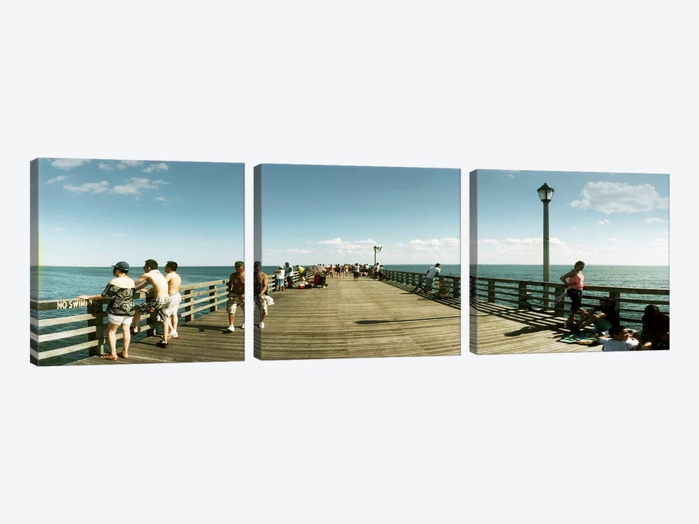 Tourists on the beach at Coney Island viewed from the pier, Brooklyn, New York City, New York State, USA by Panoramic Images 3-piece Canvas Art Print