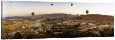 Hot air balloons over landscape at sunrise, Cappadocia, Central Anatolia Region, Turkey #5 Canvas Art Print