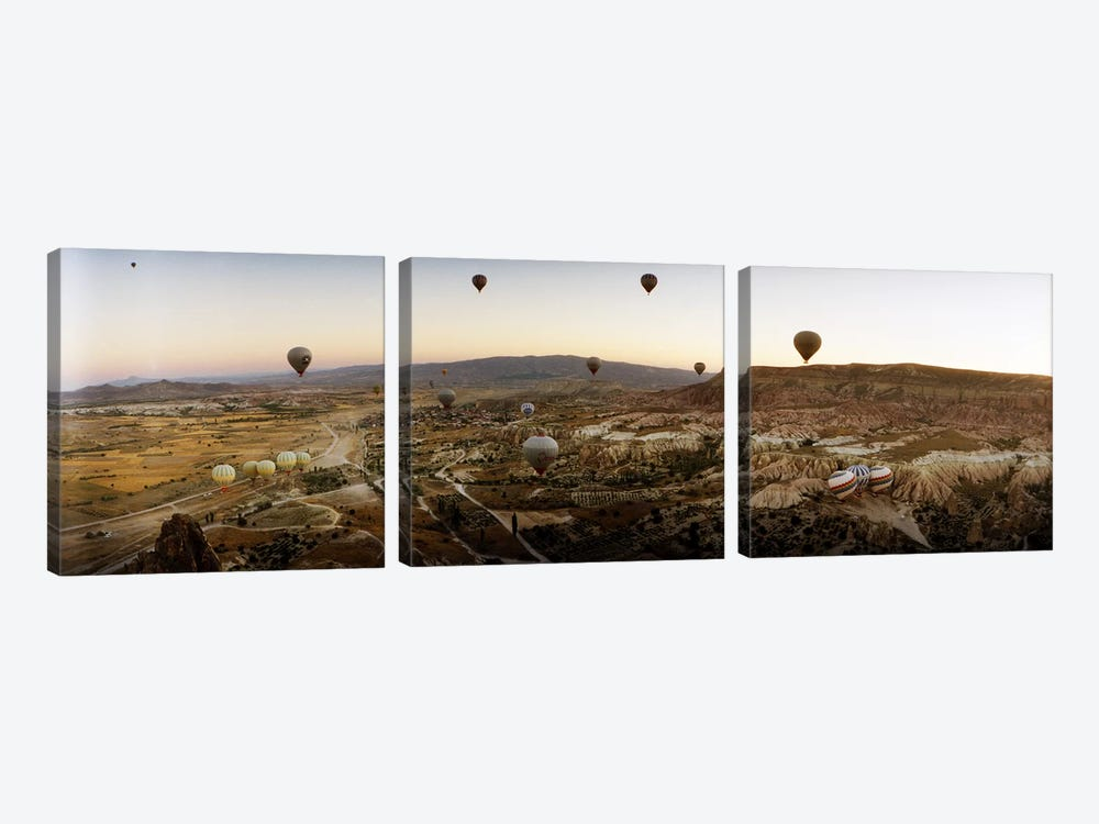 Hot air balloons over landscape at sunrise, Cappadocia, Central Anatolia Region, Turkey #5 3-piece Canvas Print