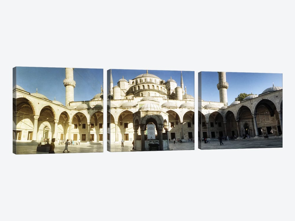 Courtyard of Blue Mosque in Istanbul, Turkey by Panoramic Images 3-piece Canvas Print