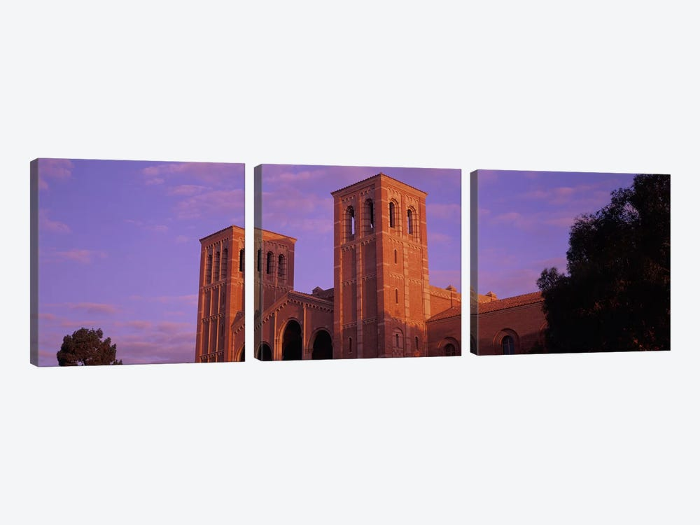 Low angle view of Royce Hall at university campus, University of California, Los Angeles, California, USA 3-piece Canvas Wall Art