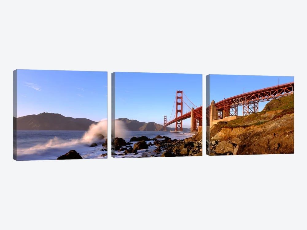 Bridge across the bay, San Francisco Bay, Golden Gate Bridge, San Francisco, Marin County, California, USA by Panoramic Images 3-piece Art Print