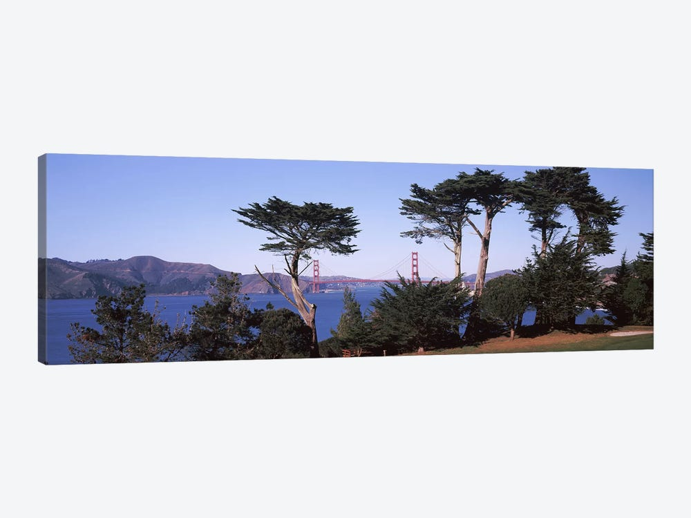 Suspension bridge across a bay, Golden Gate Bridge, San Francisco Bay, San Francisco, California, USA by Panoramic Images 1-piece Canvas Art