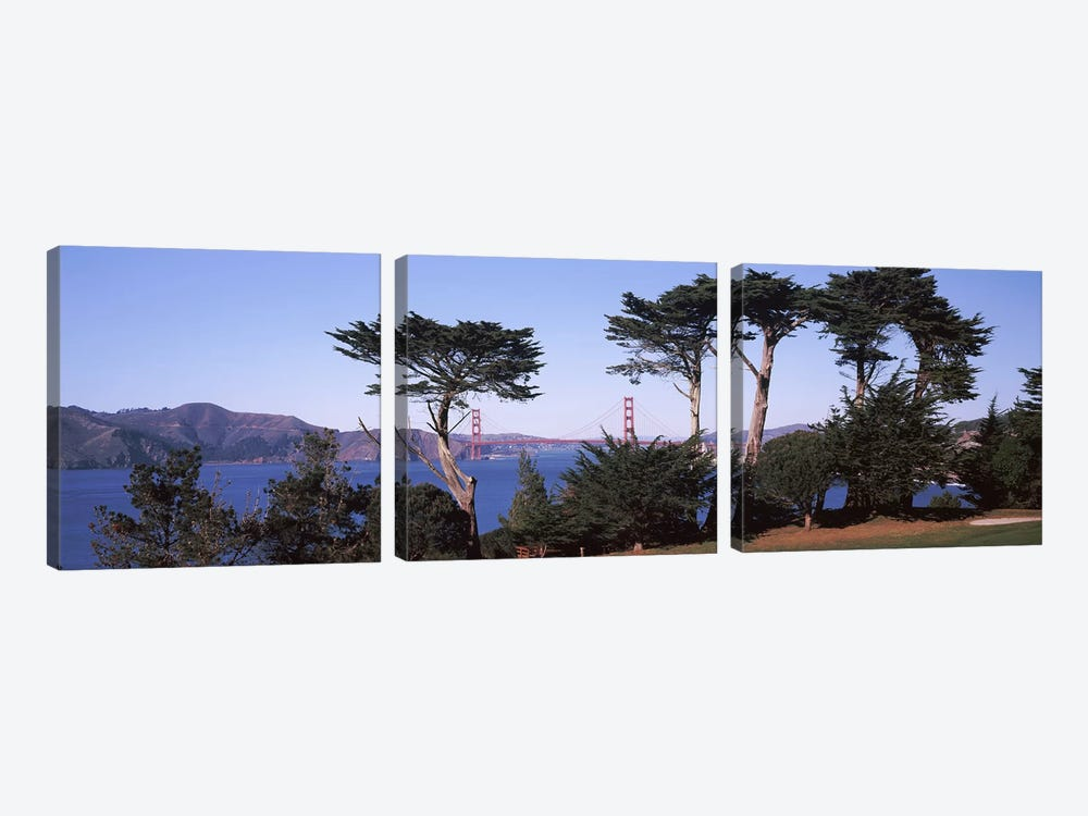 Suspension bridge across a bay, Golden Gate Bridge, San Francisco Bay, San Francisco, California, USA by Panoramic Images 3-piece Canvas Wall Art