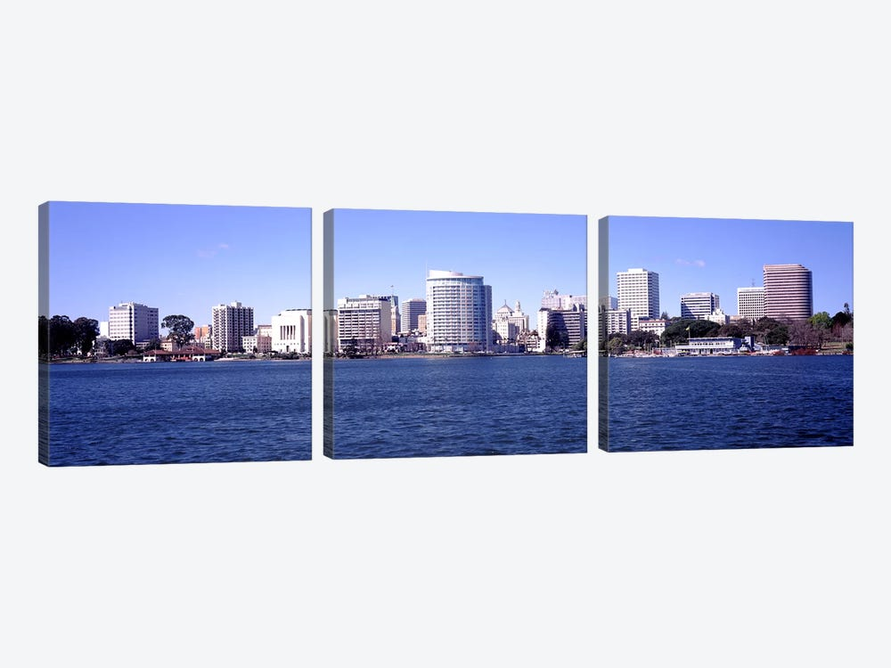 Skyscrapers in a lake, Lake Merritt, Oakland, California, USA by Panoramic Images 3-piece Canvas Wall Art