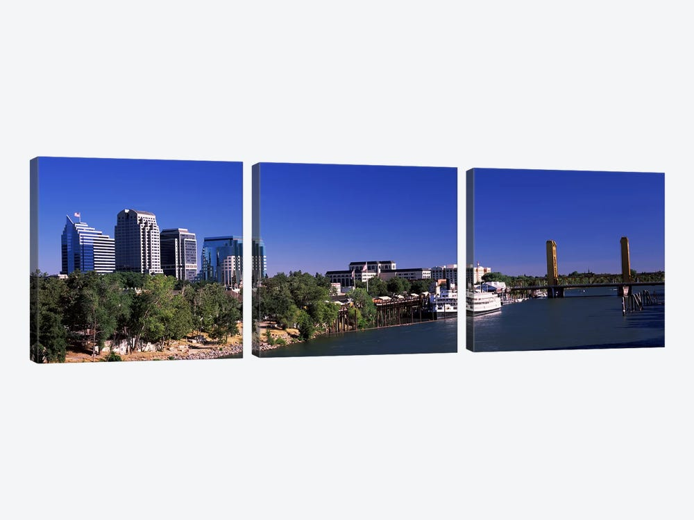 Downtown and Tower Bridge, Sacramento, CA, USA by Panoramic Images 3-piece Canvas Art