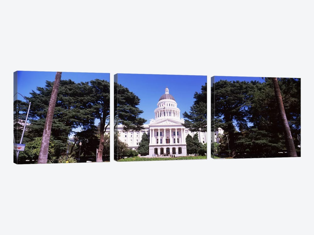 Facade of a government building, California State Capitol Building, Sacramento, California, USA by Panoramic Images 3-piece Canvas Artwork