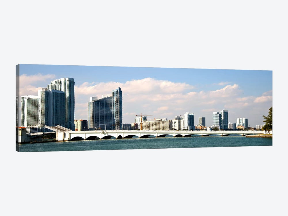 Buildings at the waterfront, Miami, Florida, USA by Panoramic Images 1-piece Canvas Wall Art