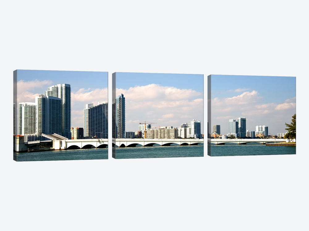 Buildings at the waterfront, Miami, Florida, USA by Panoramic Images 3-piece Canvas Artwork