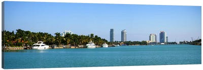 Buildings at the waterfront, Miami, Florida, USA #2 Canvas Art Print