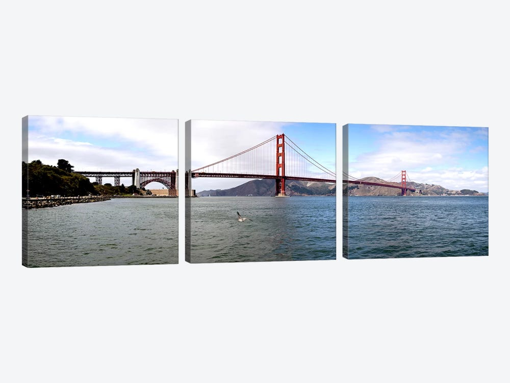 Suspension bridge across the sea, Golden Gate Bridge, San Francisco, California, USA by Panoramic Images 3-piece Art Print