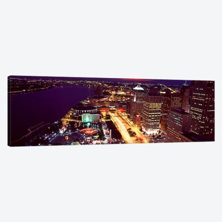 High angle view of buildings lit up at night, Detroit, Michigan, USA Canvas Print #PIM10979} by Panoramic Images Canvas Art