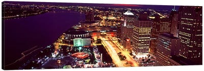 High angle view of buildings lit up at night, Detroit, Michigan, USA Canvas Art Print