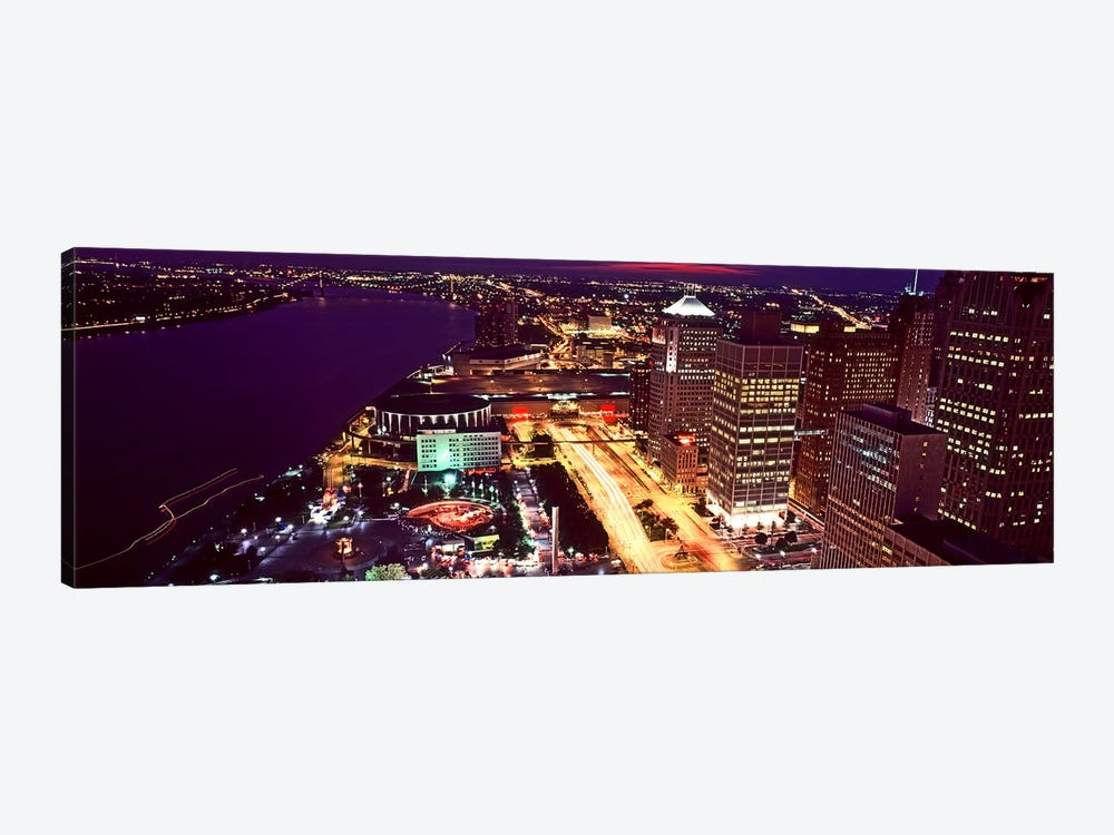 High angle view of buildings lit up at night, Detroit, Michigan, USA by Panoramic Images 1-piece Canvas Artwork