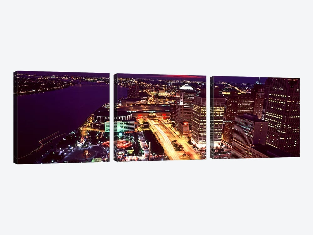High angle view of buildings lit up at night, Detroit, Michigan, USA by Panoramic Images 3-piece Canvas Art