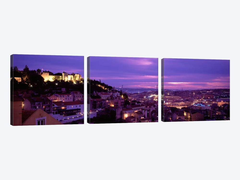Rooftop View Of Alfama District, Lisbon, Portugal by Panoramic Images 3-piece Canvas Wall Art