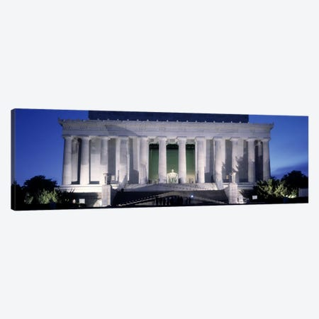 Memorial lit up at night, Lincoln Memorial, Washington DC, USA Canvas Print #PIM10980} by Panoramic Images Canvas Art Print