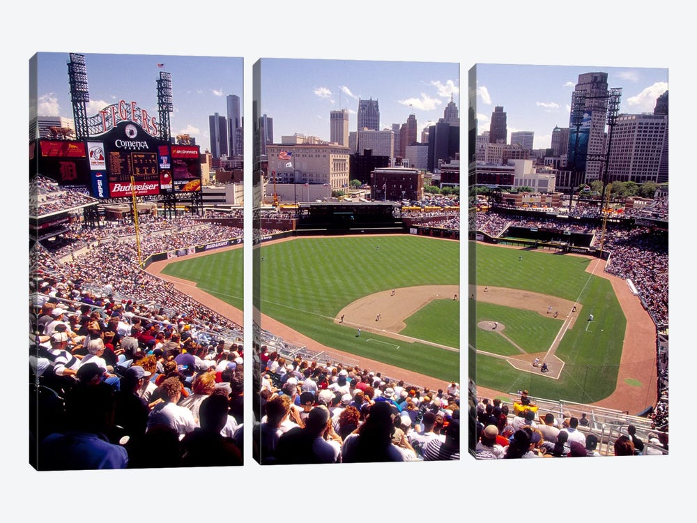 Home of the Detroit Tigers Baseball Team, Comerica Park, Detroit, Michigan, USA by Panoramic Images 3-piece Canvas Wall Art