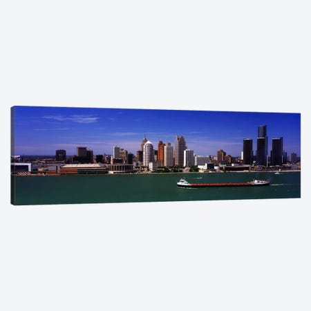 Buildings at the waterfront, Detroit, Michigan, USA Canvas Print #PIM10985} by Panoramic Images Canvas Wall Art