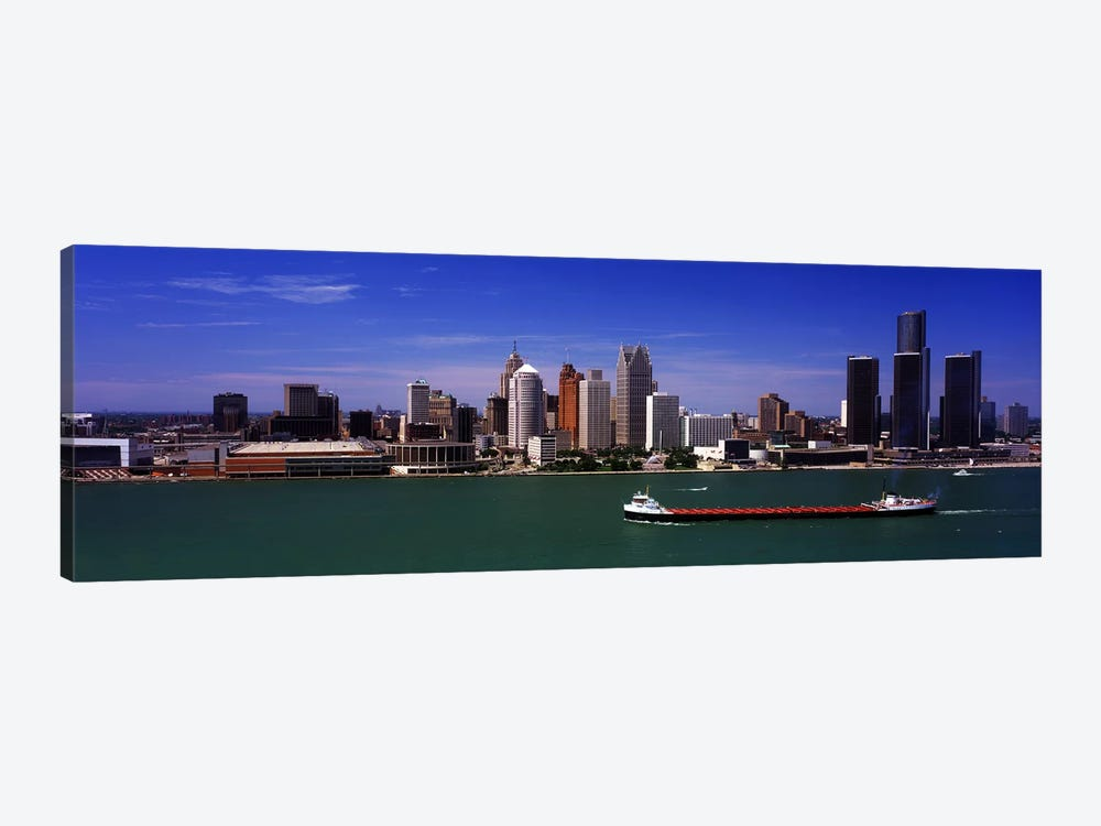 Buildings at the waterfront, Detroit, Michigan, USA by Panoramic Images 1-piece Canvas Art Print