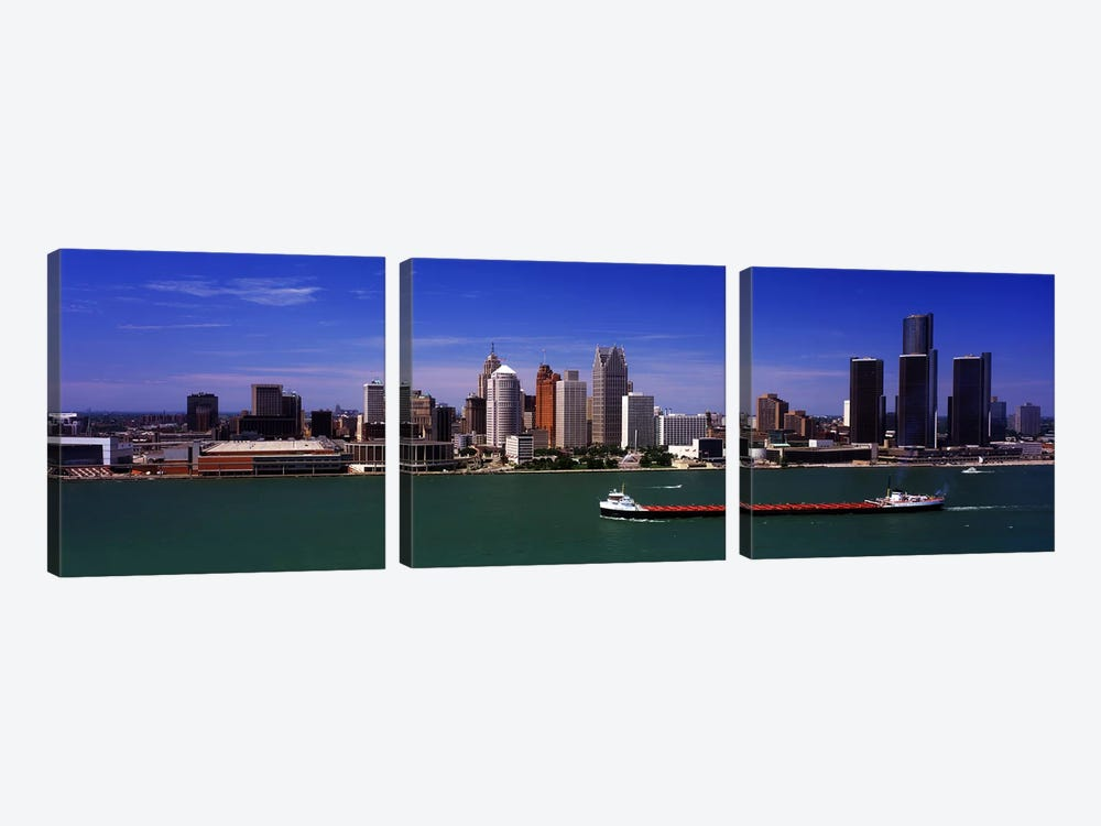 Buildings at the waterfront, Detroit, Michigan, USA by Panoramic Images 3-piece Canvas Print