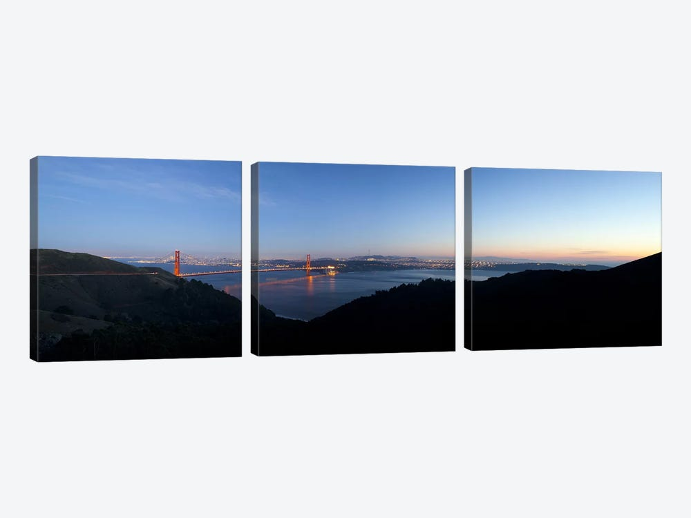 Hawk Hill, Marin Headlands, Goden Gate Bridge, San Francisco, Califorina by Panoramic Images 3-piece Canvas Artwork