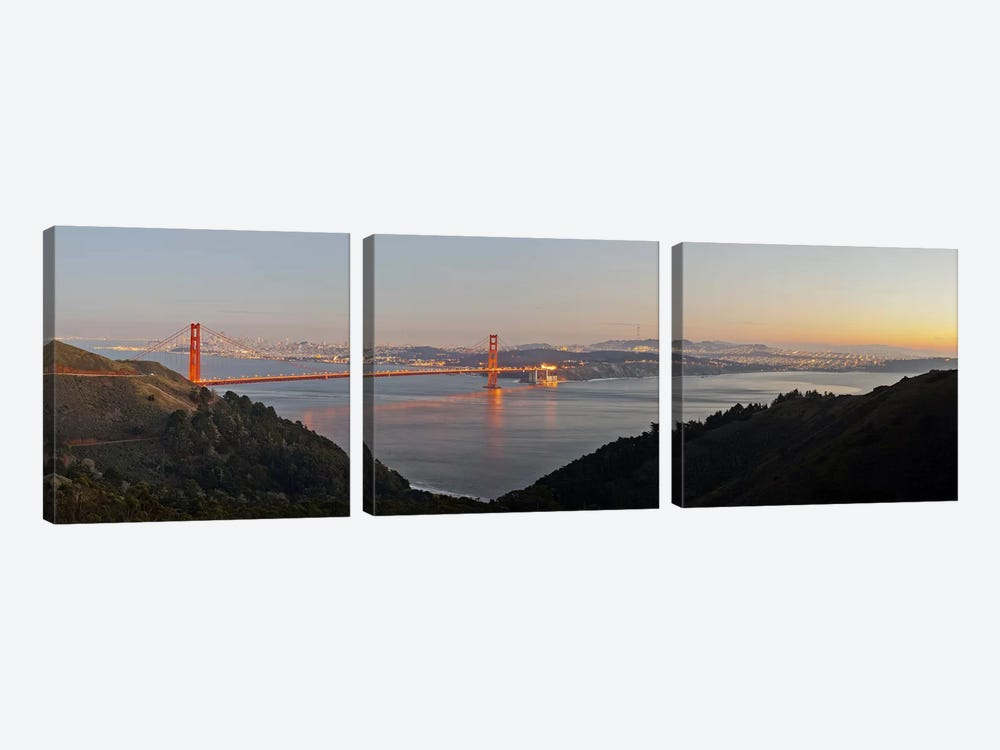 Hawk Hill, Marin Headlands, Goden Gate Bridge, San Francisco, Califorina #2 by Panoramic Images 3-piece Canvas Art Print