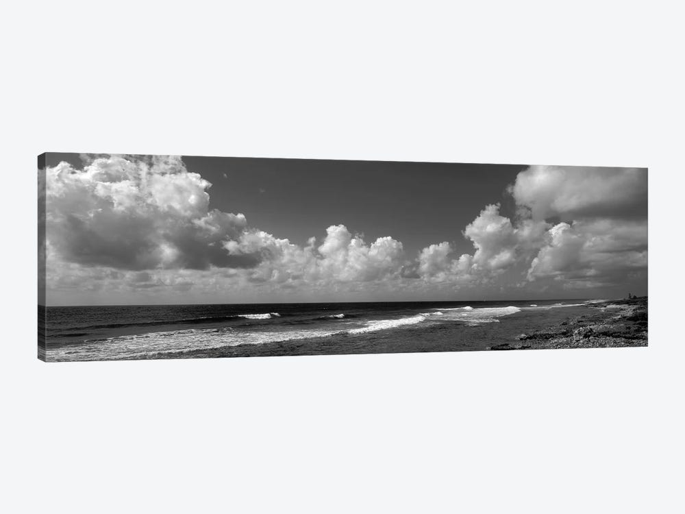 Cloudy Coastal Landscape In B&W, Grand Cayman, Cayman Islands by Panoramic Images 1-piece Canvas Wall Art