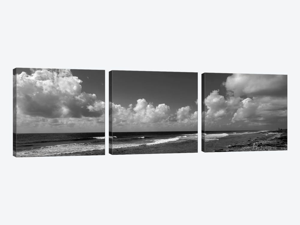 Cloudy Coastal Landscape In B&W, Grand Cayman, Cayman Islands by Panoramic Images 3-piece Canvas Art