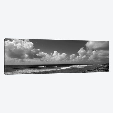 Cloudy Coastal Landscape In B&W, Grand Cayman, Cayman Islands Canvas Print #PIM10991} by Panoramic Images Canvas Artwork