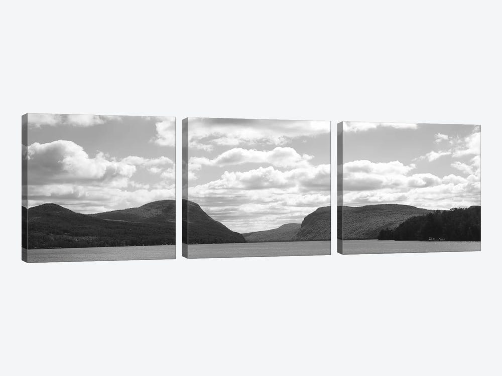 Willoughby Notch In B&W Featuring Mount Pisgah And Mount Hor, Lake Willoughby, Orleans County, Vermont, USA by Panoramic Images 3-piece Canvas Wall Art