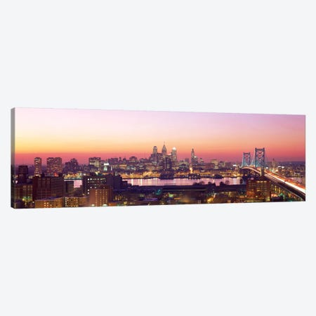 Arial View Of The City At Twilight, Philadelphia, Pennsylvania, USA  Canvas Print #PIM10} by Panoramic Images Canvas Art Print