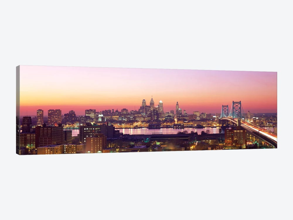Arial View Of The City At Twilight, Philadelphia, Pennsylvania, USA  1-piece Canvas Art Print