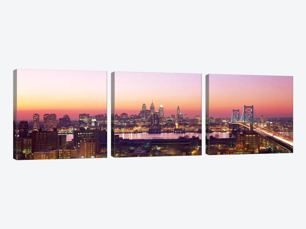 Arial View Of The City At Twilight, Philadelphia, Pennsylvania, USA  3-piece Canvas Print