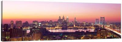 Arial View Of The City At Twilight, Philadelphia, Pennsylvania, USA  Canvas Art Print
